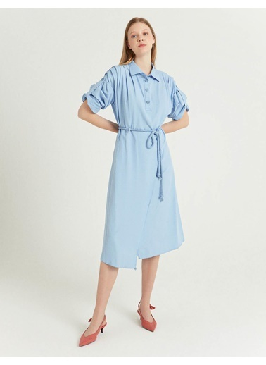 BGN Mavi - Halat Kemerli Gömlek Elbise Mavi